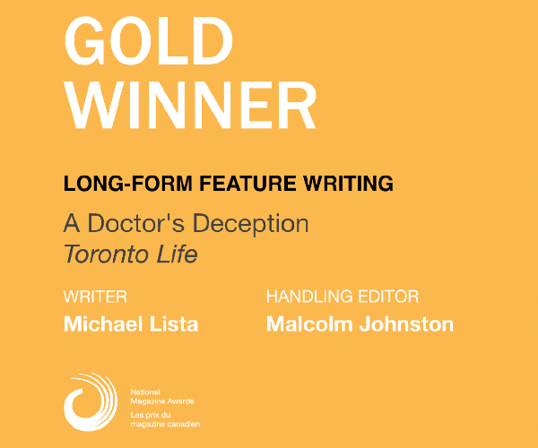 Toronto Life National Magazine Award Gold