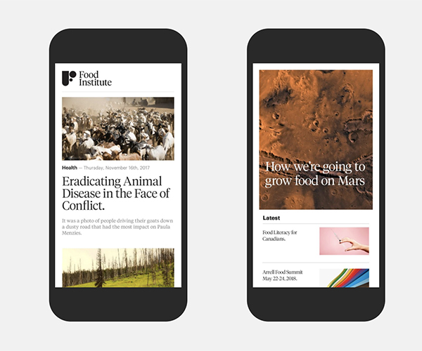mobile content for Arrell Food Institute