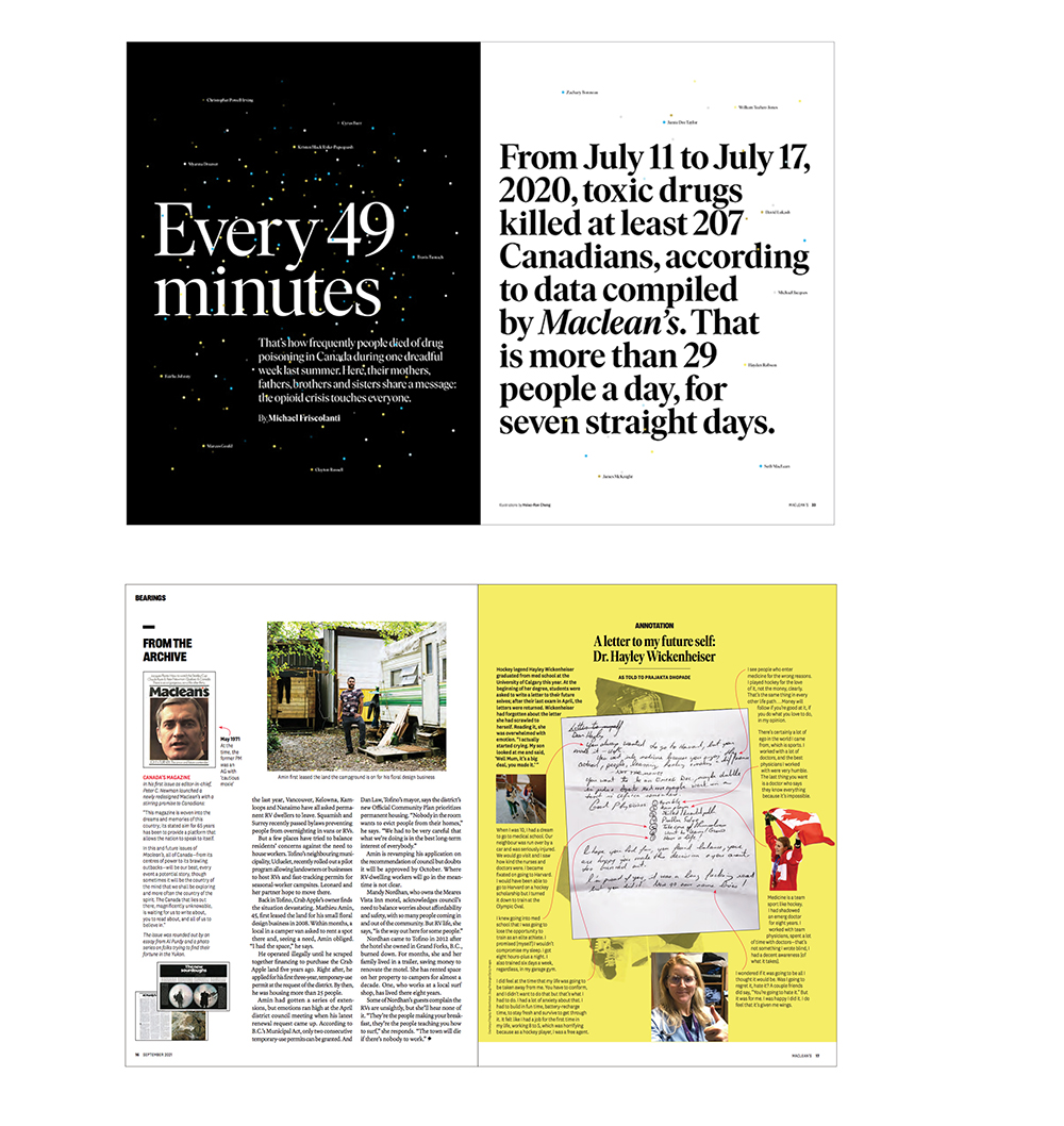two spreads of the new Maclean's