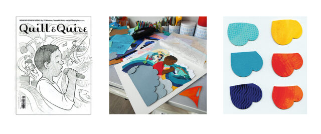 Image showing the steps in the cover creation process for the 2021 October issue of Q & Q